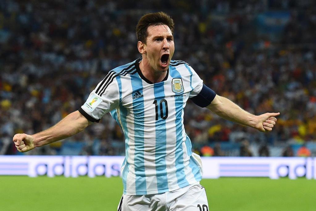 Lionel Messi of Argentina celebrates after scoring his team's second goal during the Group F match between Argentina and Bosnia-Herzegovina.
