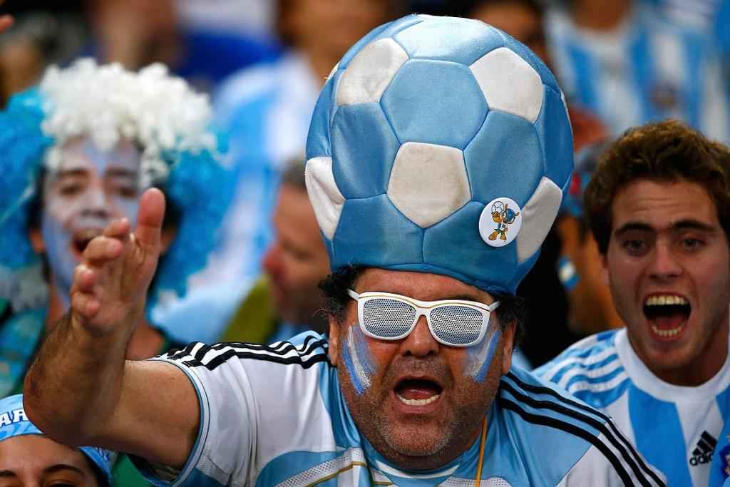 Argentina fans wait for the Group F match between Argentina and Bosnia-Herzegovina.