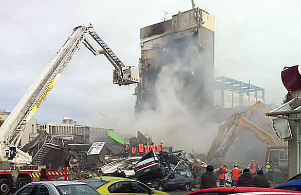 DEADLY FALL: The CTV building in Madras St collapsed on February 22, 2011, taking 115 lives and injuring many other people.