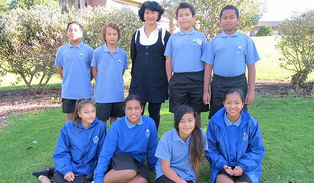 GREEN FINGERS: Sixty year 7 and 8 students from South Auckland Middle School are looking at the science behind a hangi. Back from left, Sione Vi, Phillip Ngametua, teacher Tangiatua Faireka, Andrew Loader, Villi Tuitoga. Front from left: Journey Maihi, Charity Longtime, Glorielle Filisi and Losaline Selupe.