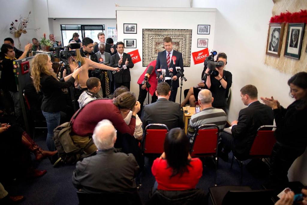 Labour MP David Cunliffe celebrates being elected leader of the Labour Party at his electorate office in New Lynn, Auckland.