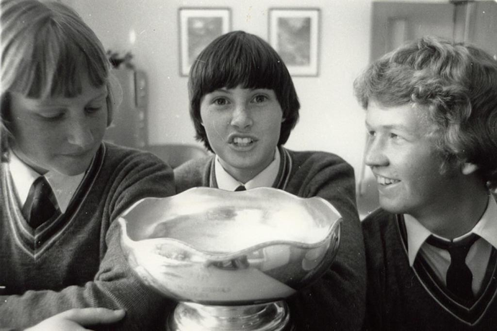 The Pleasant Point High School debating team won the national secondary schools debating title in 1979. From left are Sarah Feasey, Helen Steven and David Cunliffe.