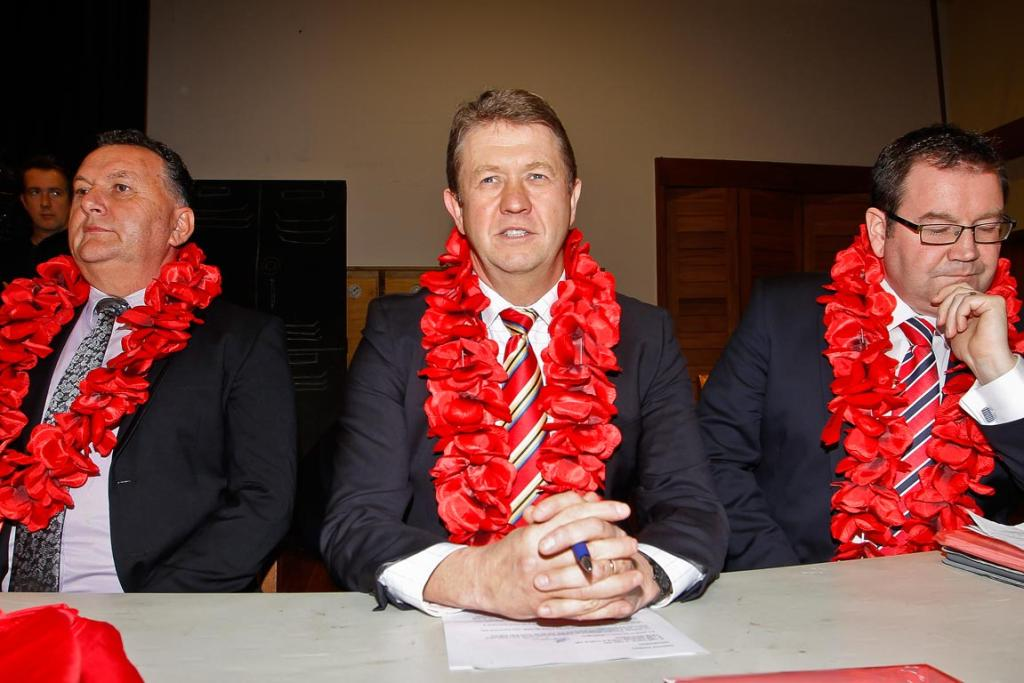 Labour MP's Shane Jones, David Cunliffe, and Grant Robertson pause during the Wellington meeting of the Labour leadership campaign.