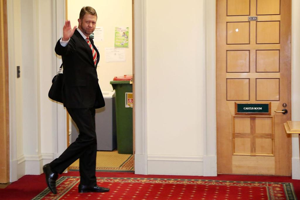 Labour's then-economic development spokesman David Cunliffe makes his way to the caucus room at Parliament on November 20, 2012 in Wellington. Labour party members were called to a leadership vote meeting today after speculation of a leadership challenge by  Cunliffe.