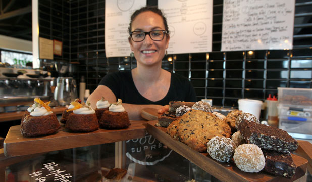 TUCK IN: Kate Grange, a manager at Pure Cafe, which specialises in  raw food and paleo options.