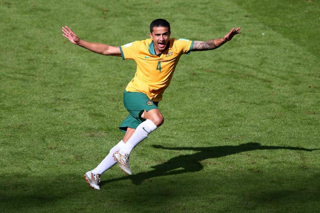 Socceroos striker Tim Cahill celebrates after his volley goal that is a contender for goal of the tournament.