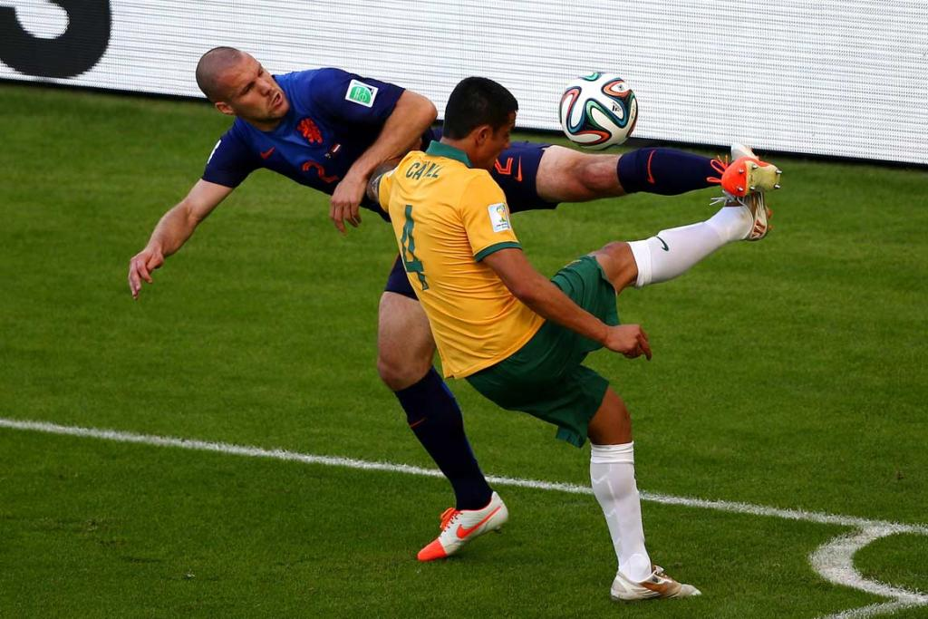 Tim Cahill (right) and Ron Vlaar battle for the ball.