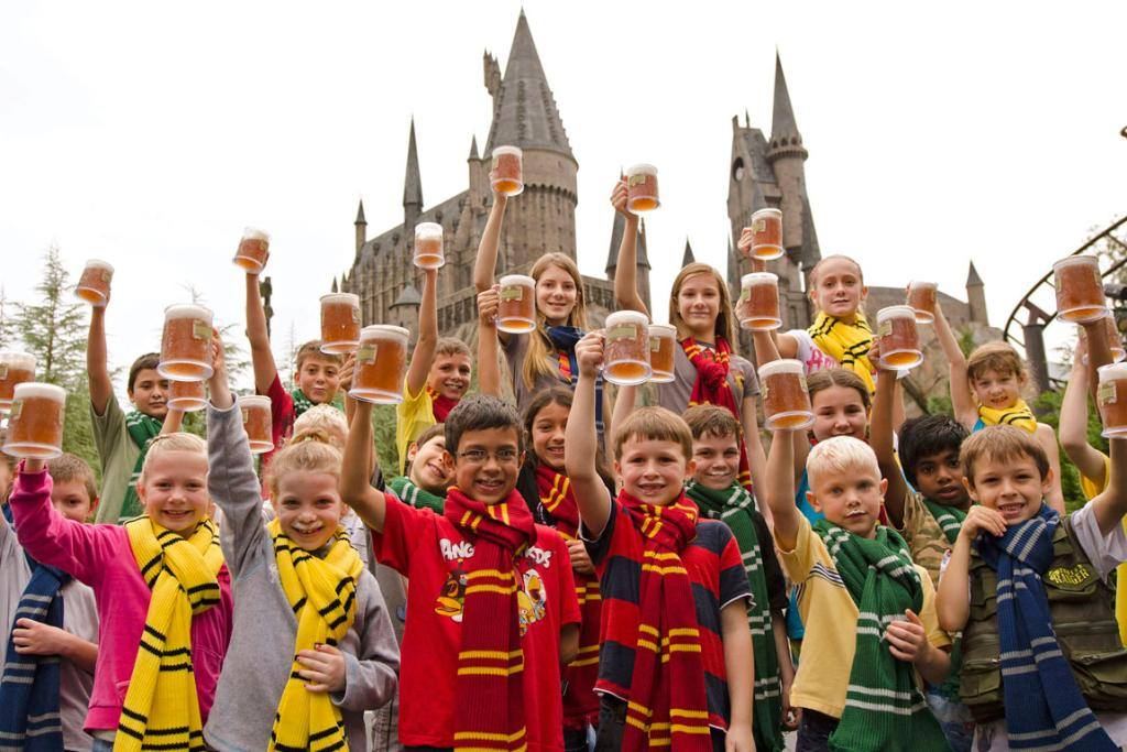 "Guests celebrate the five-millionth serving of ""Butterbeer"", a popular themed beverage sold within ""The Wizarding World of Harry Potter"" at Universal Orlando Resort in Florida."