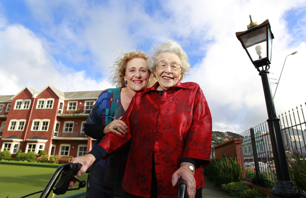 FILM DEBUT: Rita Angus Retirement Village resident Ethel Robinson, 98, has landed her first role in the vampire movie , What We Do In Shadows. Margot Boock, left, from the village, also has a part.