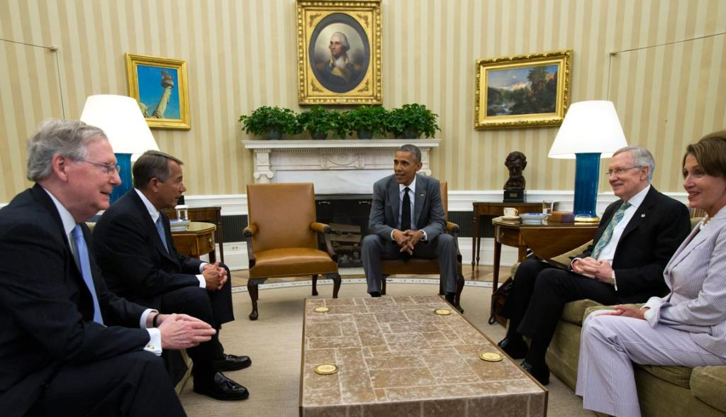 So far, the United States have refrained from sending in troops, other than a small force to protect the US Embassy and consulates. Here, President Barack Obama discusses the options with congressional leaders in the Oval Office.