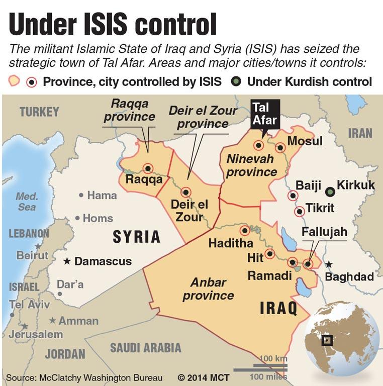 ISIL (also known as ISIS) rapidly consolidated their wins, capturing many cities in northern Iraq. Shown here is their territory on June 16.