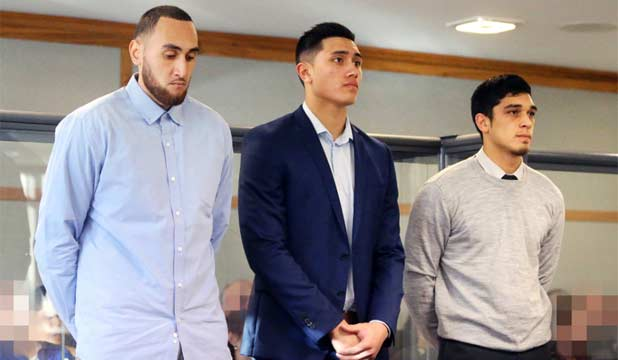 IN THE DOCK: Southland Sharks basketballers (from left) Leon Henry, Reuben Te Rangi and Shea Ili appear in the New Plymouth District Court on Thursday.