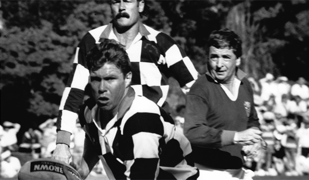 REFFED THE BEST: Bob Francis refereeing a festival match in Tawa in the late 1980s, featuring All Black Murray Mexted, rear, and Australian great Nick Farr-Jones.