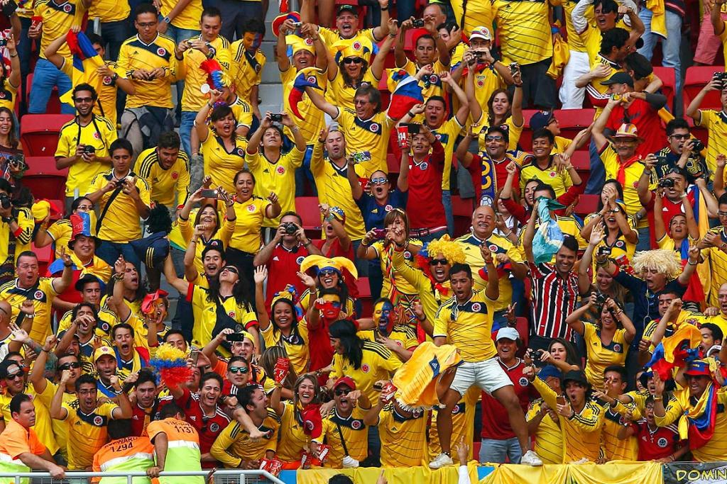 Colombia fans celebrate Juan Quintero's goal during the Group C match between Colombia and Ivory Coast.