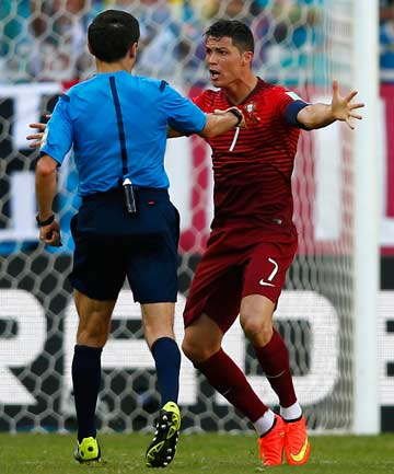 TAKING THE FIELD: Despite suffering tendonitis in his left knee, Cristiano Ronaldo is set to play for Portugal against the USA in their important Group G match in Manaus.