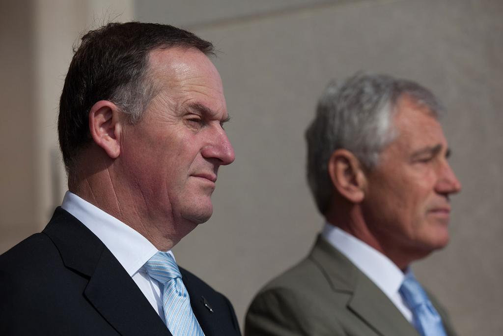John Key meets with United States Secretary of Defence at the Pentagon in Washington.