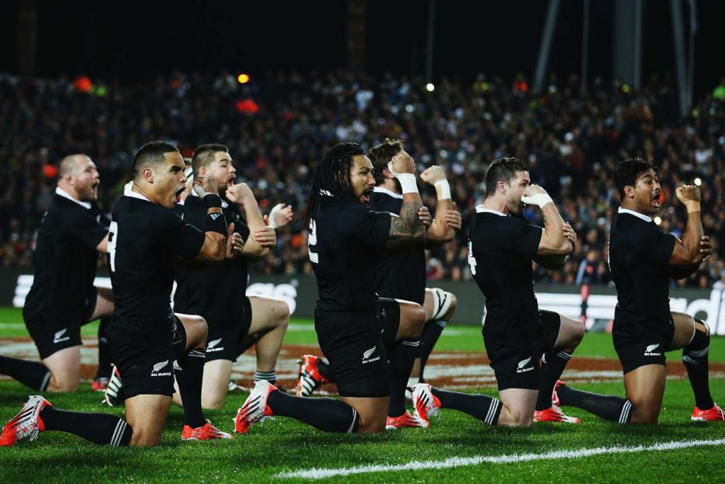 The All Blacks perform the haka ahead of the third test.