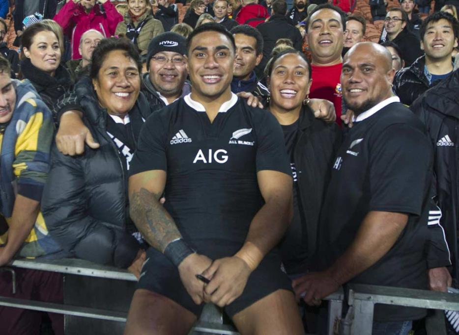 Centre Malakai Fekitoa with his family after his first All Blacks start.