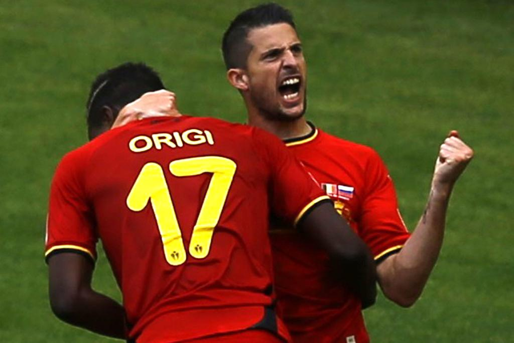 Belgium's Divock Origi (17) celebrates with Belgium's Kevin Mirallas after scoring a goal during the 2014 World Cup Group H football match against Russia at the Maracana stadium in Rio de Janeiro.
