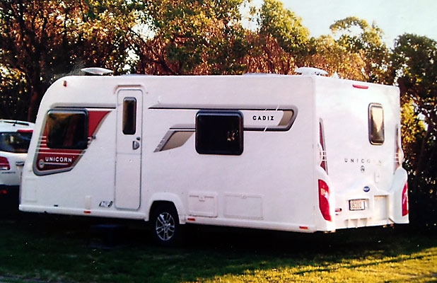 STOLEN: The distinctive caravan was imported from the United Kingdom last year and was worth about $56,000.