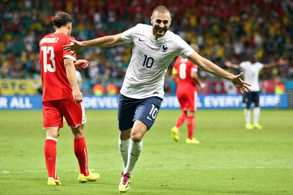 Karim Benzema of France celebrates a goal that came after the referee had blown full time during his side's win over Switzerland in Salvador, Brazil.
