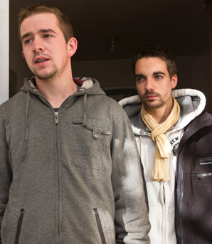 FAITH RESTORED: French tourists Loic Constans, left, and Adrien Gelis after their 1996 Subaru car and their possessions were stolen from  a supermarket carpark in Halifax St.