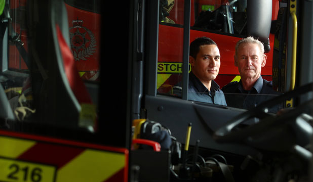 GENERATION GAP: ''Young'' firefighter Willie Watters, 32, is learning the ropes from the likes of veteran station officer Doug Platt, who at 62 is fighting fit and will continue putting out fires as long as he is up to the job.