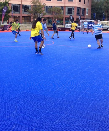 Mini football: The portable futsal court which will be in New Plymouth from tomorrow until Sunday.