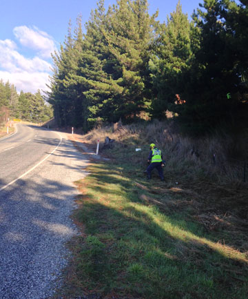 ROADSIDE HUNT: A police search team combs the roadside and scrub near the spot where Rutger Hale was killed by a mystery object between Wanaka and Lake Hawea in October.