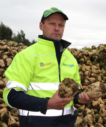 BRIGHT FUTURE: Southern Cross Produce owner Matthew Malcolm with some sugar beet which he is growing commercially for the dairy market.