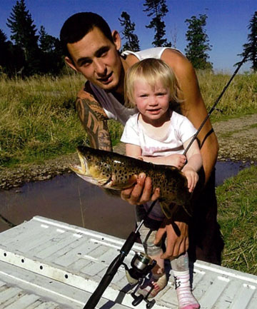 PROUD DAD: Adam Hill, pictured with daughter Maikayla, 4, had moved into a farmhouse with his family a year before being fatally shot while hunting.