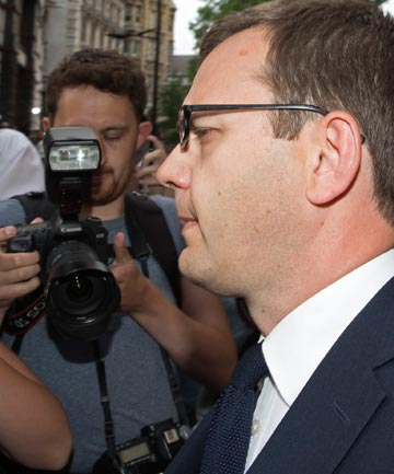 GUILTY: Andy Coulson leaves the Old Bailey courthouse following the verdict.