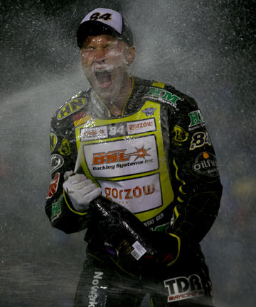 POP THE BUBBLY: Martin Smolinski of Germany celebrates winning the FIM Speedway Grand Prix at Western Springs earlier this year.