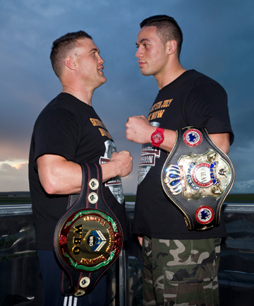 LEVEL PLAYING FIELD: Brian Minto, left, and Joseph Parker will both be tested for performance enhancing drugs tomorrow, but results won't be back in time to prevent their July 5 bout going ahead.