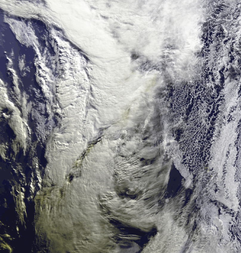 LONG WHITE MESS: A satellite image of New Zealand just before 9am today.