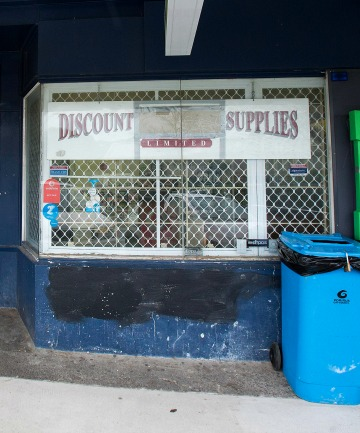 UP IN SMOKE: Jack Thomson's advertising at his  Porirua store yesterday, with the word ''cigarette'' painted out.