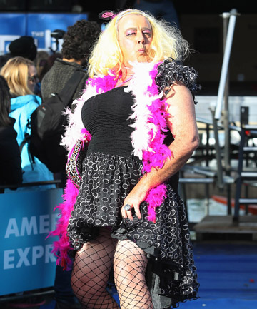 POSER: Graeme Todd as 'Miss Tess Terown' before the Queenstown Winter Festival drag race.