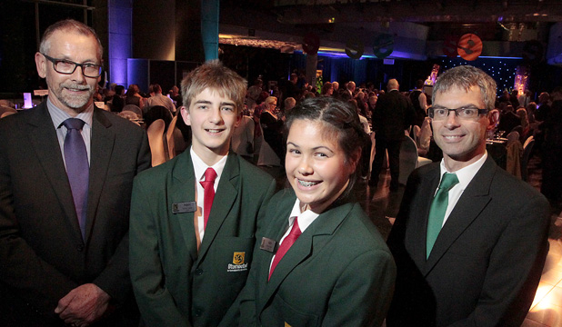 Tauranga's Otumoetai Intermediate School received the supreme award. L-R: Principal Henk Popping, Adam Chatwin, 13, Akira McTavish-Huriwai, 12, and board chairman Mark Barratt.