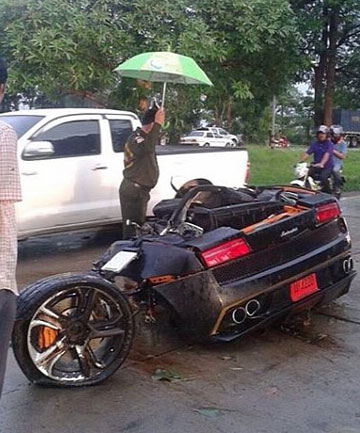 Wreckage of a Lamborghini Gallardo cut in half in a smash in Thailand.