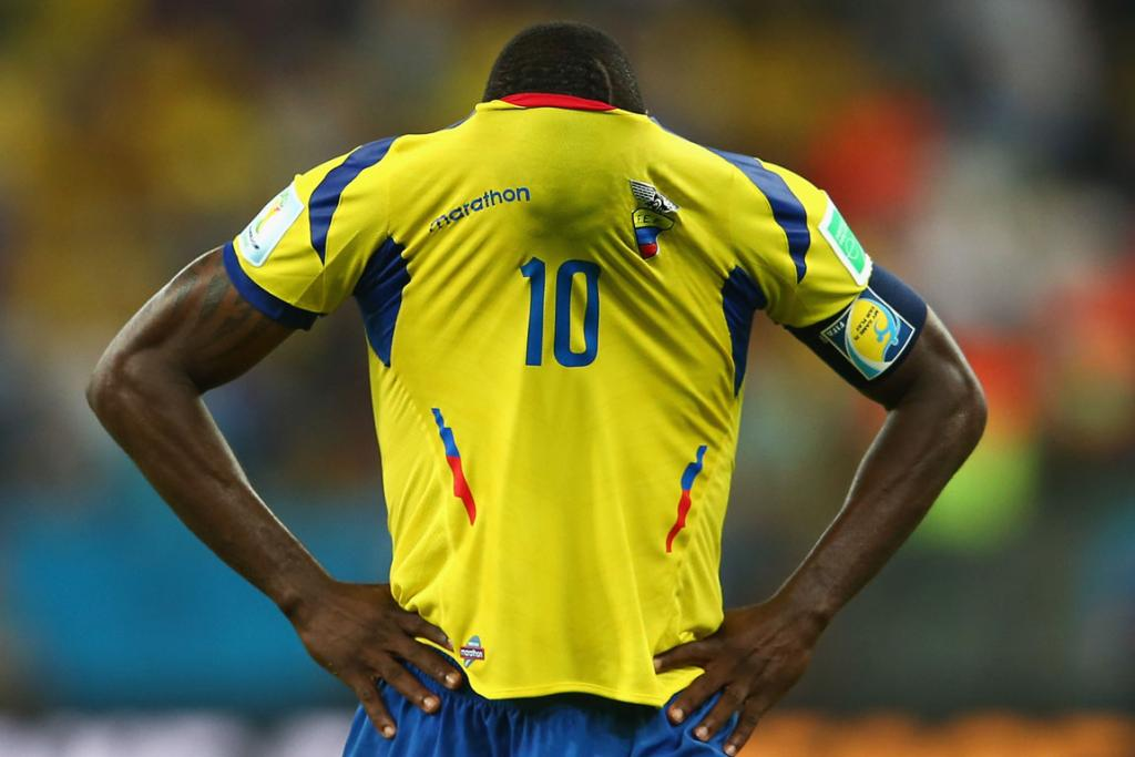 Walter Ayovi of Ecuador reacts after a 0-0 draw with France at the Maracana Stadium in Rio de Janeiro.