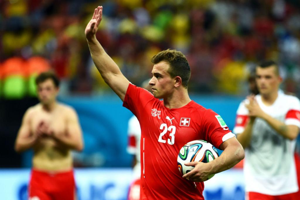 Swiss playmaker Xherdan Shaqiri acknowledges the fans after his country's 3-0 victory over Honduras.