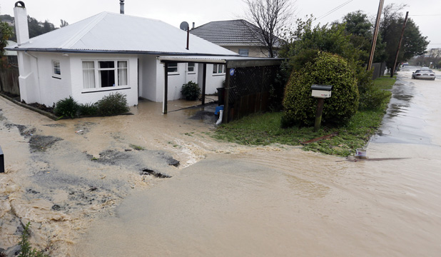 FLOODED: Properties in Nelson were inundated with muddy flood waters after the deluge.