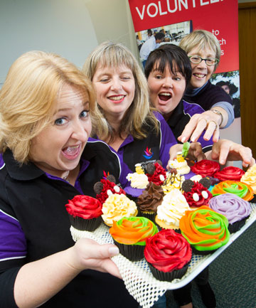 HUNGER BUSTER: Volunteering Waikato's Heather Moore, Lorriane Hooper, Liddy Aislasi, and Margaret Drew enjoy cupcakes from Girl on the Swing.