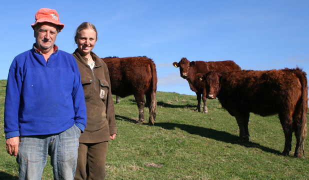 Salers breeder John Gerke of Kimbolton and daughter Amanda.