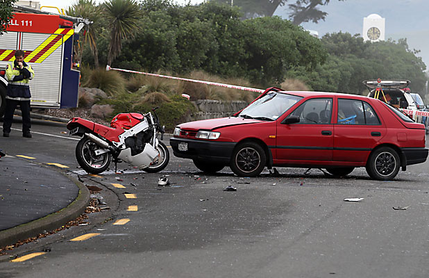 MOTORCYCLIST KILLED: Debris scatters the scene of the fatal crash in New Brighton, Christchurch.