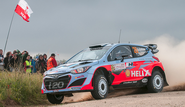ON THE PACE: Geraldine rally driver Hayden Paddon made a strong start to Rally Poland, finishing the opening day in seventh overall.