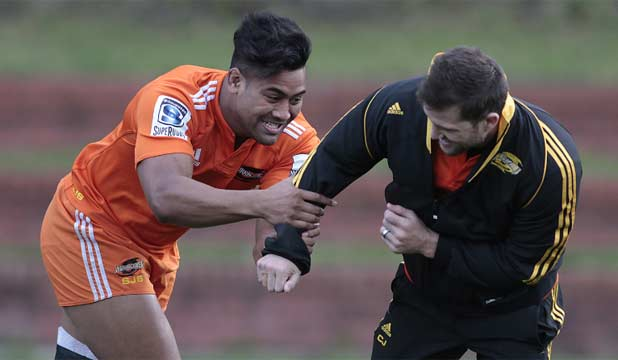 MORALE HIGH: Julian Savea (left) and Cory Jane were in a light-hearted mood at Hurricanes training this week.