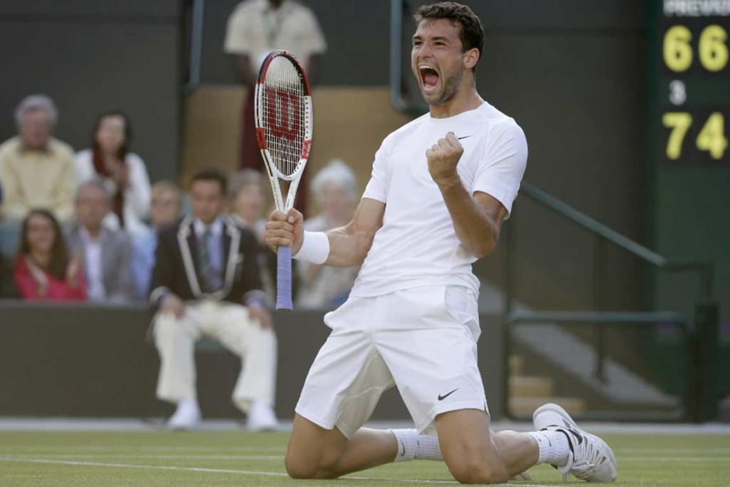Grigor Dimitrov reacts after match point in his victory over Alexandr Dolgopolov.