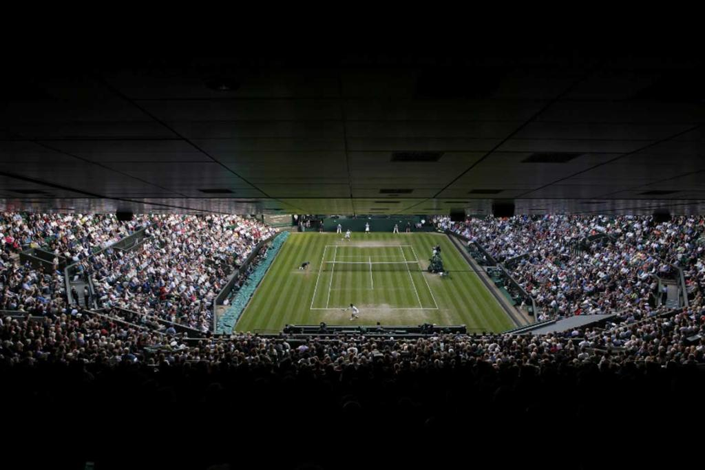 Wimbledon centre court as seen from the cheap seats.