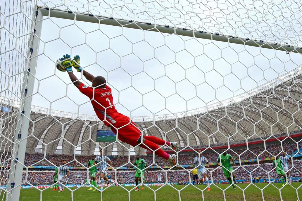 Nigeria's Vincent Enyeama makes a save against Argentina.